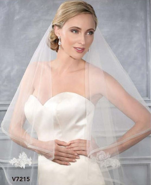 Bel Aire Bridal Wedding Veil V7215 - Two Tier Waltz w/ Horsehair Edge & Lace