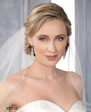 Bel Aire Bridal Wedding Veil V7216 - One Tier Elbow w/ Narrow Beaded Edge
