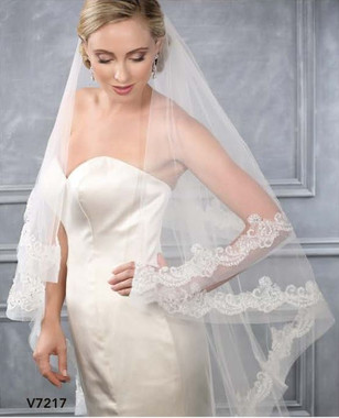 Bel Aire Bridal Veils V7217 - Two Tier Waltz w/ Alencon Lace Over Horsehair