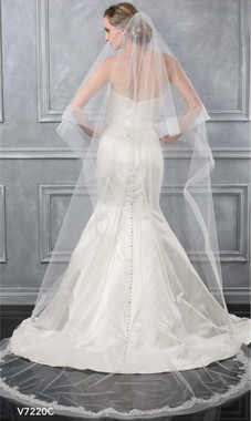 Bel Aire Bridal Veils V7220C - Two Tier Cathedral w/ Horsehair & Alencon Lace