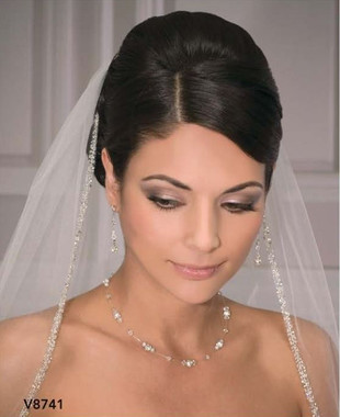 Bel Aire Bridal Wedding Veil V8741 - One Tier Elbow Length w/ Beaded Edge