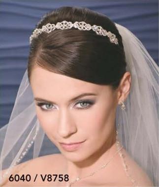 Bel Aire Bridal Wedding Veil V8758 - One Tier Elbow Silver Bead Edge