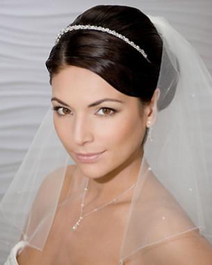 Bel Aire Bridal Wedding Veil V8759 - Two Tier Fingertip - Scattered & Drop Crystals