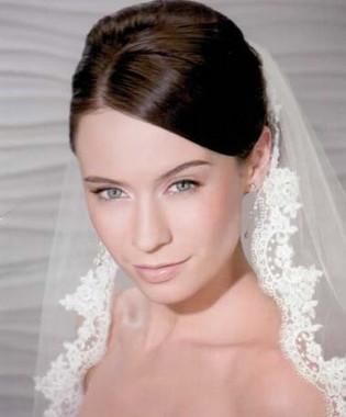 Bel Aire Bridal Wedding Veil V8760 - One Tier Elbow Alencon Lace Edge
