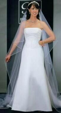 Bel Aire Bridal Wedding Veil V9892 - One Tier Cathedral Wedding Veil  Rhinestones Edge
