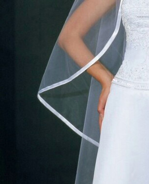 Bel Aire Bridal Style V9952 - One Tier Cathedral Wedding Veil Bias Satin Edge