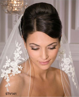 Bel Aire Bridal Wedding Veil STV141 - One Tier Fingertip Rolled Edge w/ Alencon Appliques