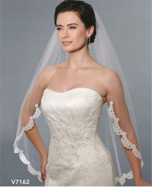 Bel Aire Bridal Wedding Veil V7162 - One Tier Fingertip Cut Edge w/ Alencon Lace
