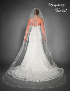 Symphony Bridal Veil - Style 6432VL - One Tier Cathedral w/ Embroidered Edge