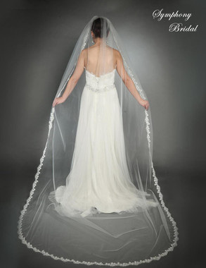Symphony Bridal Wedding Veil - Style 6434VL - Cathedral Lace Edge