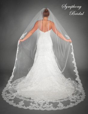 Symphony Bridal Wedding Veil - Style 6435VL - Cathedral Lace Edge