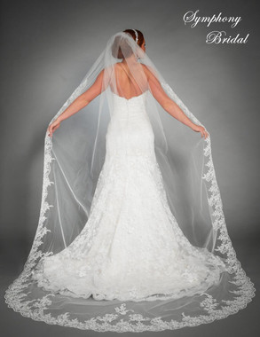 Symphony Bridal Veil - Style 6442VL - One Tier Cathedral Lace Edge