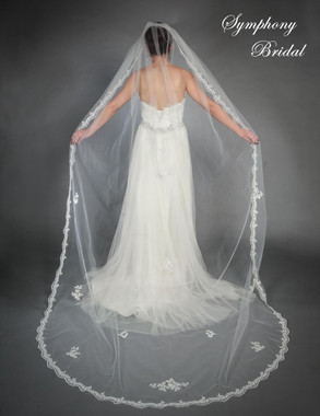 Symphony Bridal Veil - Style 6444VL - One Tier Cathedral Lace Edge