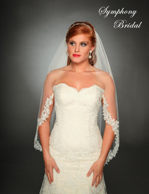 Symphony Bridal Veil - Style 6446VL - One Tier Veil with Lace Edge