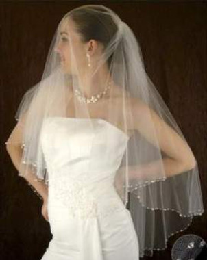 LC Bridal Style V2252-550 - Two Tier Fingertip Crystal & Bugle Beaded Folded Veil