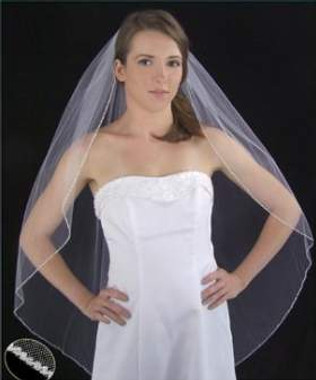 LC Bridal Style V2201-320 - One Tier Fingertip Clear Triple Bugle Beaded Veil