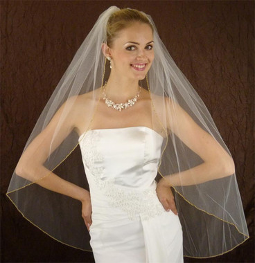 LC Bridal Style V2200-320 - One Tier Fingertip Gold Beaded w/ Zigzag Edge Veil