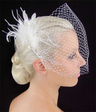 LC Bridal Style V1674-165 - French Net Veil w/ Feather, Stones & Beads