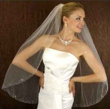 LC Bridal Style V2088-320 - One Tier Fingertip Bugle Beaded Veil