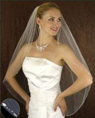 LC Bridal Style V2241-398 - One Tier Fingertip w/ Marquise Rhinestones Veil