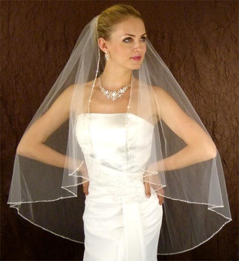 LC Bridal Style V2233-450 - One Tier Fingertip Silver Bugle Beaded Edge Veil