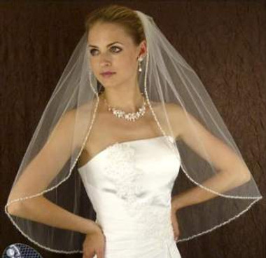 LC Bridal Style V2238-465 - One Tier Fingertip w/ Pearl Accented Silver Beaded Veil