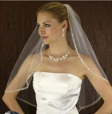 LC Bridal Style V2240-580 - One Tier Elbow Beaded w/ Silver Embroidered Edge Veil