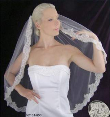 LC Bridal Style V2131-650 - One Tier Fingertip Silver Embroidered Lace Edge Veil