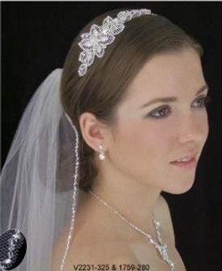 LC Bridal Style V2231-325 - One Tier Fingertip Silver Bugle Beaded Edge Veil
