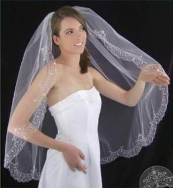 LC Bridal Style V2081-430 - One Tier Fingertip Beaded w/ Scalloped Embroidered Edge Veil