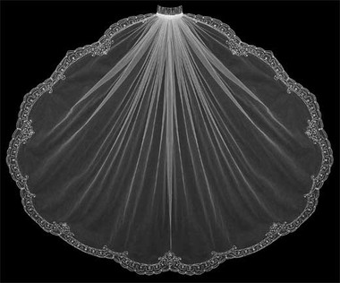LC Bridal Style V2181-750 - One Tier Cathedral Beaded w/ Scalloped Embroidered Edge Veil