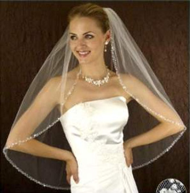 LC Bridal Style V2132-450 - One Tier Fingertip Silver & Clear Beaded Edge Veil
