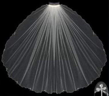 LC Bridal Style V2115-295 - One Tier Fingertip w/ Bugle & Silver Beaded Edge Veil