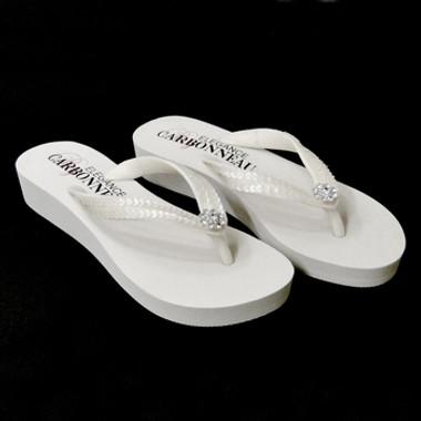 Summer ~ Low Heel White Wedge Flip Flops with Sequins & Swarovski Crystals