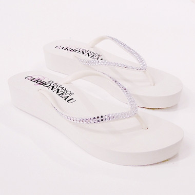 Sunshine ~ Low Heel White Wedge Flip Flops with Crystal Straps