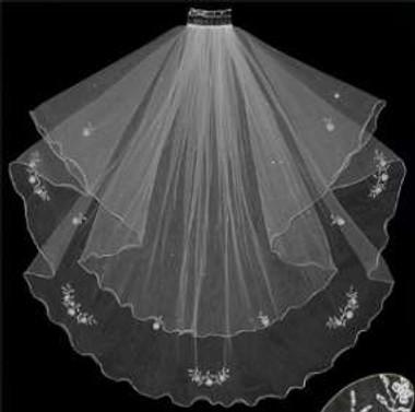 LC Bridal Style V123-420 - Two Tier Beaded Fingertip w/ Swarovski Rhinestone Veil