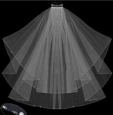 LC Bridal Style V121-298 - Two Tier Fingertip w/ Pearl & Bugle Beaded Veil