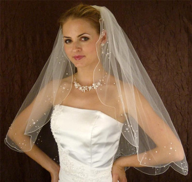 LC Bridal Style V125-295 - One Tier Fingertip w/ Swarovski Crystals Veil