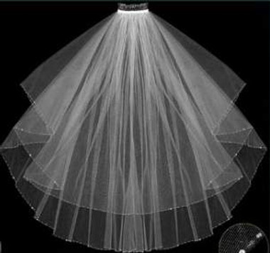 LC Bridal Style V2020-370 - Two Tier Fingertip Beaded & Crystal Edge Oval Cut Folded Veil