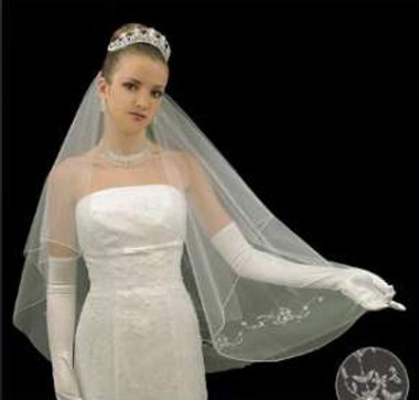 LC Bridal Style V2076-338 - Two Tier Fingertip Silver Beaded Edge w/ Floral Design Veil