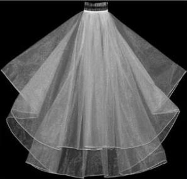 "LC Bridal Style V102-150 - Two Tier Fingertip Cut/Plain Edge Veil - 30""/36"""