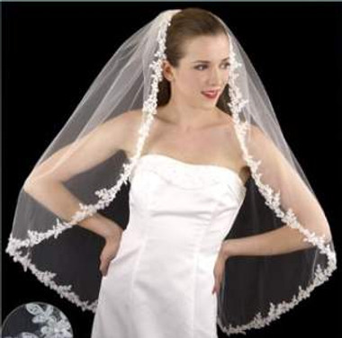 LC Bridal Style V2246-450 - One Tier Fingertip Beaded Alencon Lace Edge Veil