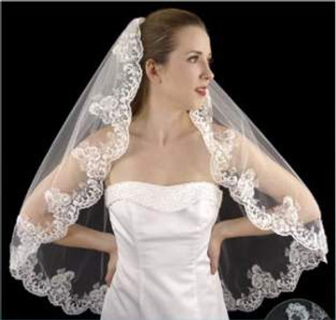 LC Bridal Style V2244-630 - One Tier Fingertip Beaded Alencon Lace Edge Veil