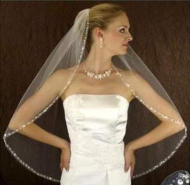 LC Bridal Style V2267-485 - One Tier Fingertip Silver Bugle Beaded w/ Rhinestone Veil