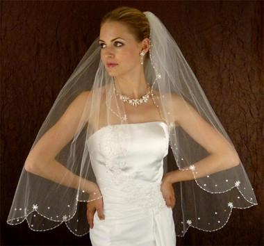 LC Bridal Style V140-295 - One Tier Fingertip Beaded w/ Scalloped Cut Edge Veil