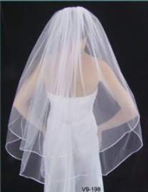 "LC Bridal Style V600-180 - Two Tier Fingertip w/ Satin Cord (Rattail) Edge Veil - 20""/25"""