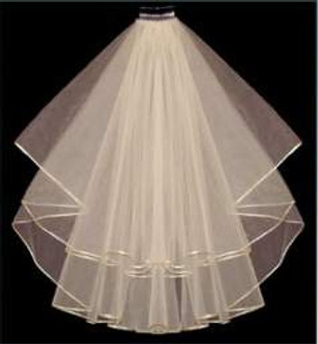 "LC Bridal Style V9R-220 - Two Tier Fingertip Folded w/ Rattail (Satin Cord) Edge Veil - 30""/36"""