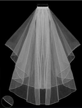 LC Bridal Style V2015-180 - Two Tier Fingertip Silver Thread Serged/Hemmed Edge Veil