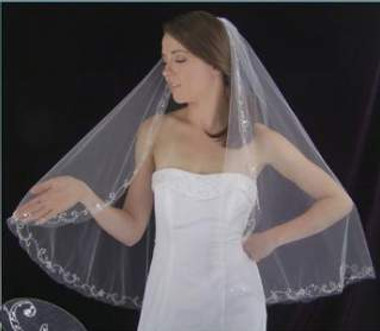 LC Bridal Style V2102-550 - One Tier Fingertip Beaded w/ Silver Embroidered Edge Veil