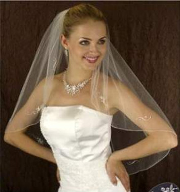 LC Bridal Style V2249-298 - Two Tier Fingertip Silver Bugle Beaded w/ Rhinestones Veil